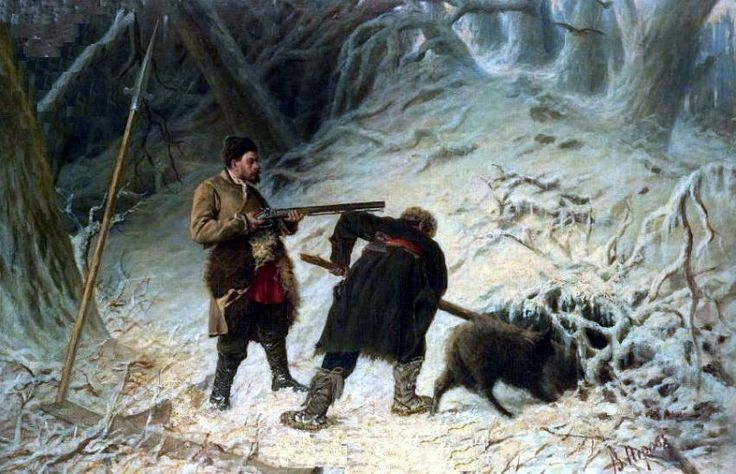 oooo | perov | Охота на кабана. Х. , м. 93. 5x142. Василий Григорьевич Перов