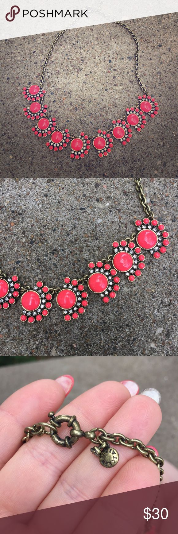 J Crew Coral Pink Statement Necklace Not quite a true coral but also not true pink, somewhere in between. Perfect condition and gorgeous! Authentic J Crew. J. Crew Jewelry Necklaces