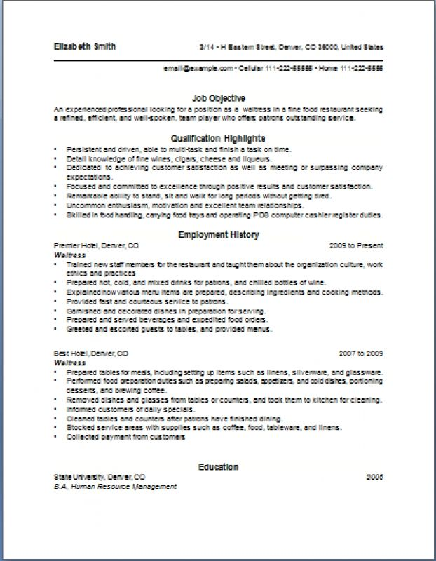 Resume For A Waitress To Professional - Experts' opinions