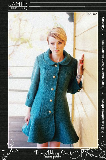 The Abbey Coat sewing pattern - Jamie Christina Designs. $14.95, via Etsy.