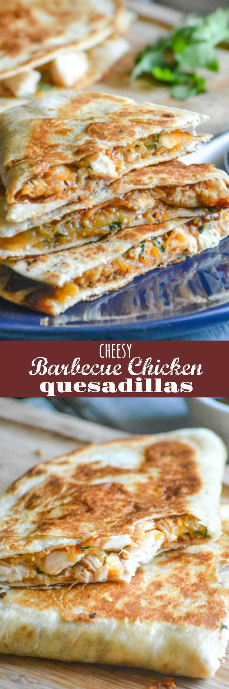 Cheesy Barbecue Chicken Quesadillas   Crispy quesadillas fit the bill for so many occasions. Lunch, dinner, even a Game Day snack these quick & easy Cheesy Barbecue Chicken Quesadillas are sure to be a home run with whatever crew you're serving.   4 Sons 'R' Us