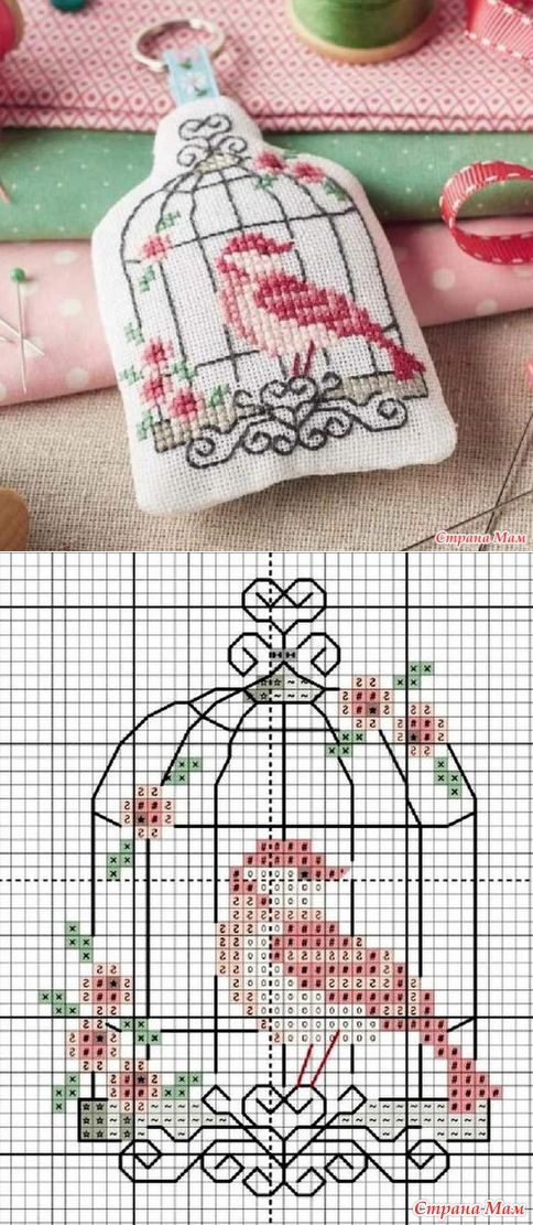 Cross stitch bird in cage