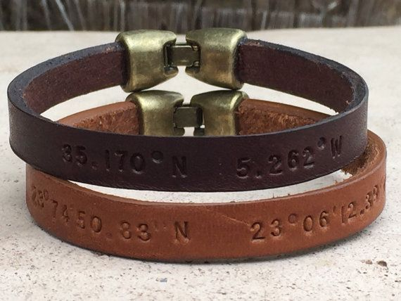 FREE SHIPPING-Mens Leather BraceletMen Engraved by MbraceMen