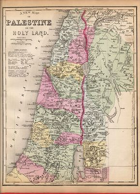 1875 Authentic Map Palestine Holy Land Old Antique Judea Samaria Galilee Color