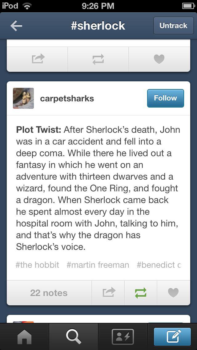 Sherlock hobbit crossover- lol. Quite clever