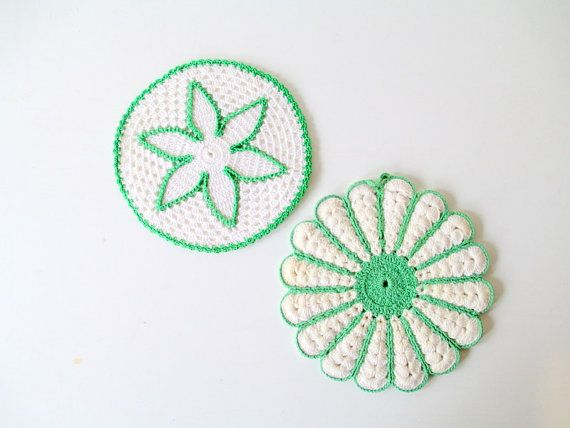 Set of Two Vintage Crochet Potholders, Green and White Crocheted Pot Holders trivets on Etsy, $10.82 AUD
