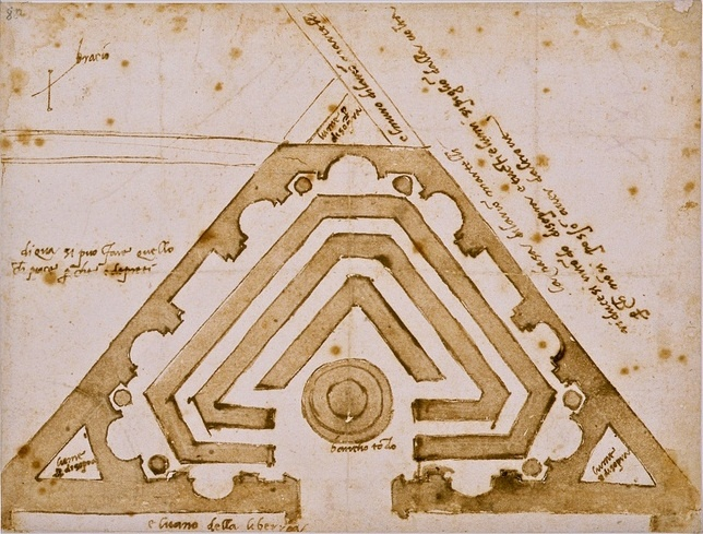 Michelangelo Buonarroti's architectural plans for a secret library. Reminds me of the one of the earth bender symbols.