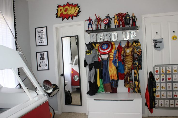 Every kids dream. A super hero arsenal of costumes.