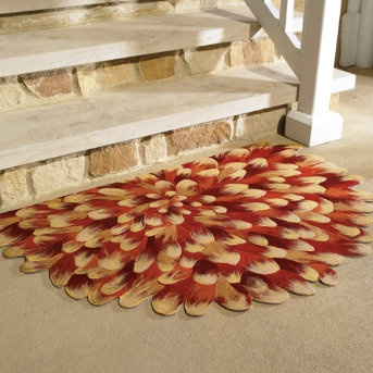 Cool idea for painting a floor cloth, flowers!
