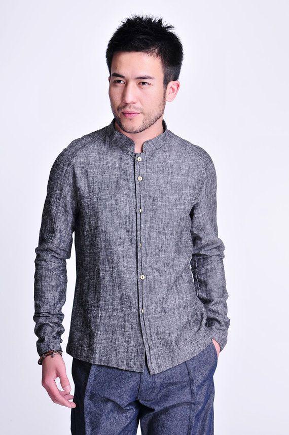 Polished Granite / Linen Men's Shirt with Reglan sleeve/ by Ramies, $76.00