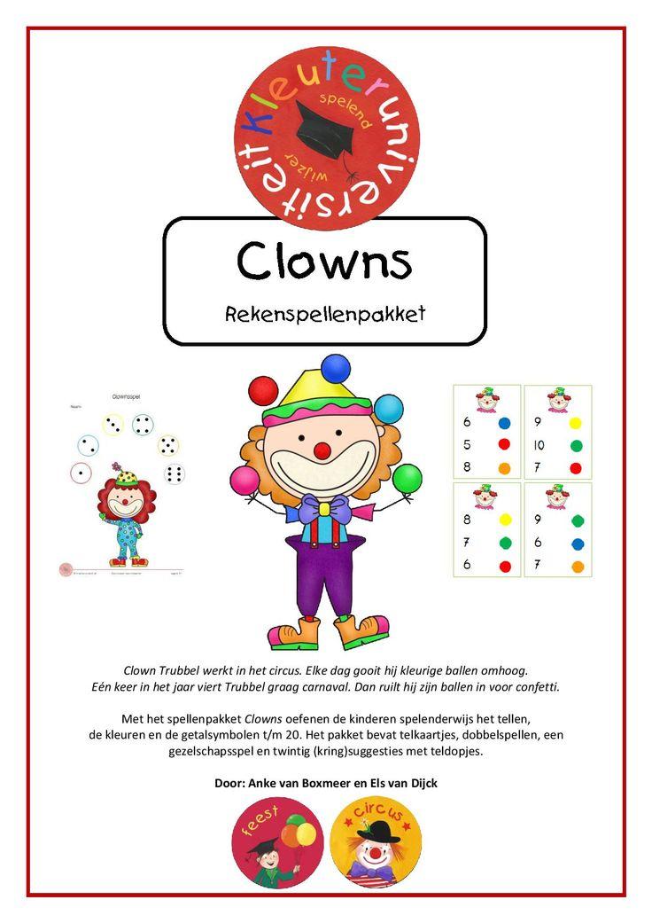 Rekenspellenpakket Clowns voor thema circus of carnaval. Met telkaartjes, dobbelspellen en een gezelschapsspel. Door juf Els en juf Anke