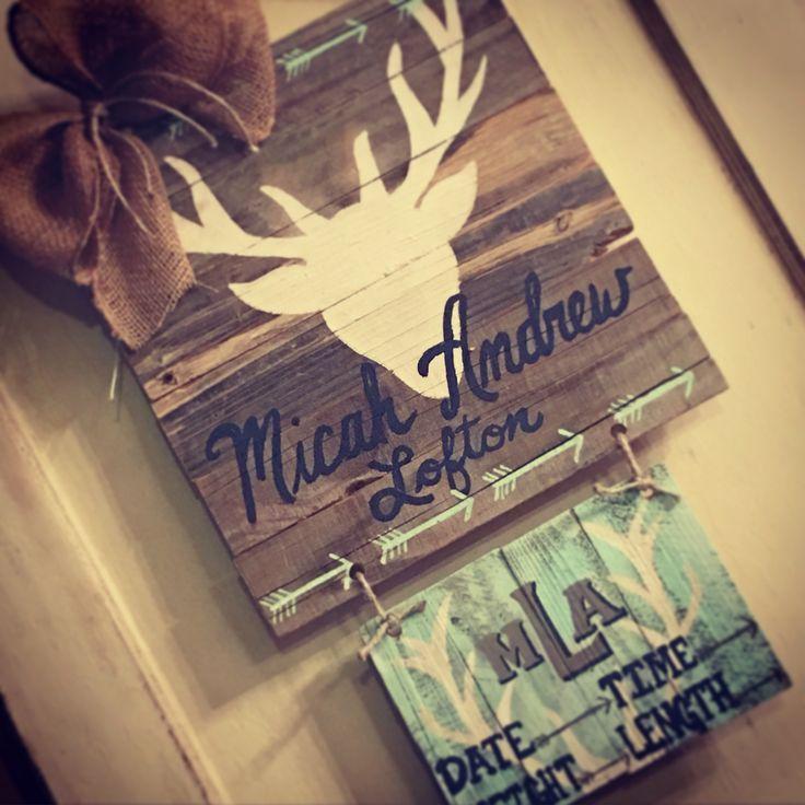 Deer baby boy hospital door hanger