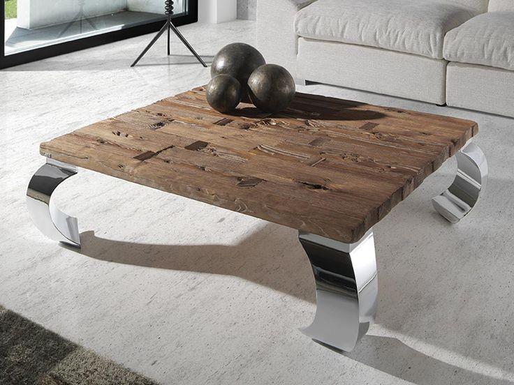 Mesas de centro cuadradas en madera de mobila vieja y patas de metal