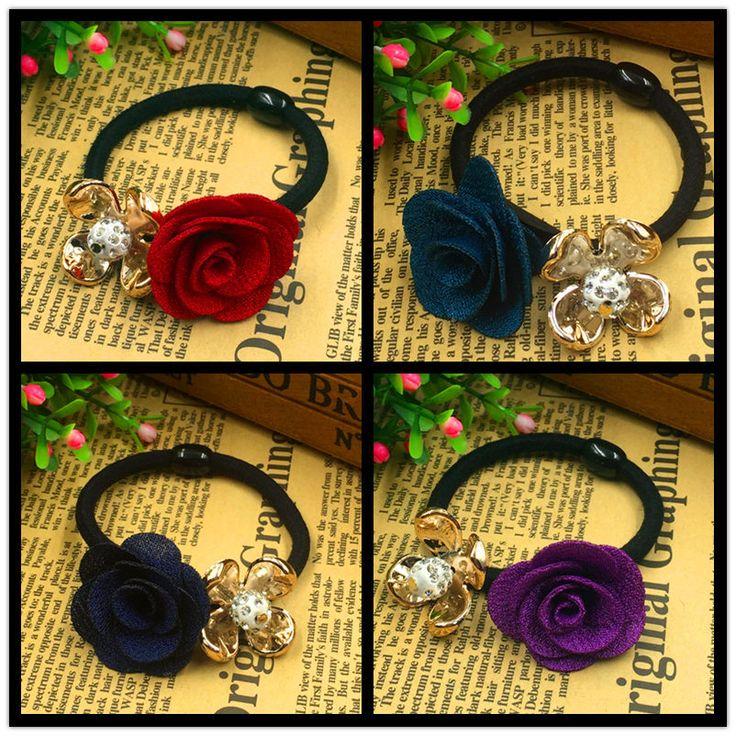 2015 neue Vergoldete Stoff Kristall Rose Blume Haar-halter Gummibänder Schwarzen Gummi Zubehör Krawatte Gum 4 Farben Wählen