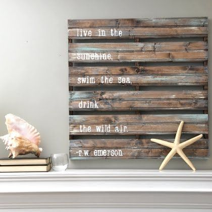 love: Wall Art, Beaches Homes, Pallets Art, Woods Pallets, Pallets Idea, Pallets Signs, Beaches House, Diy'S, Quotes