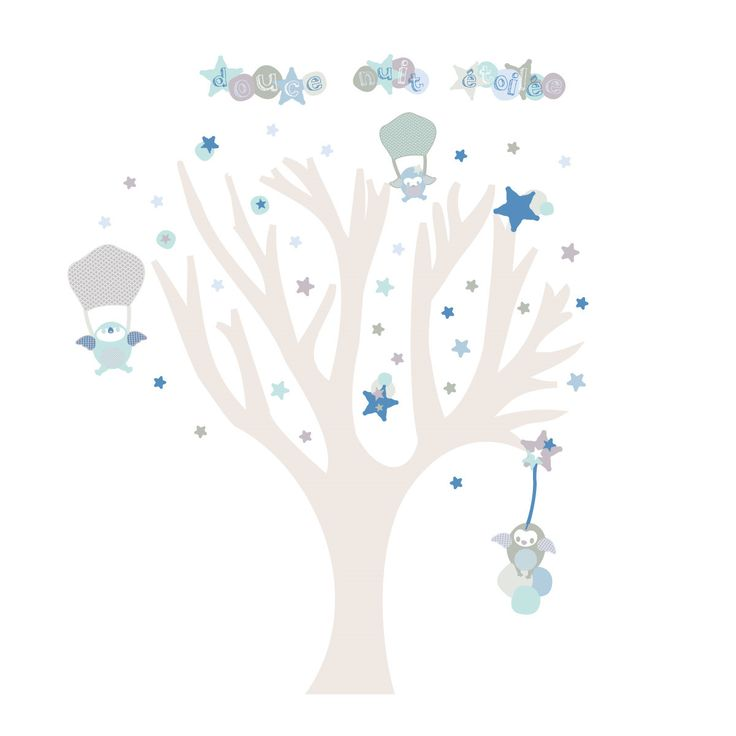 Sticker Arbre douce nuit étoilée garçon