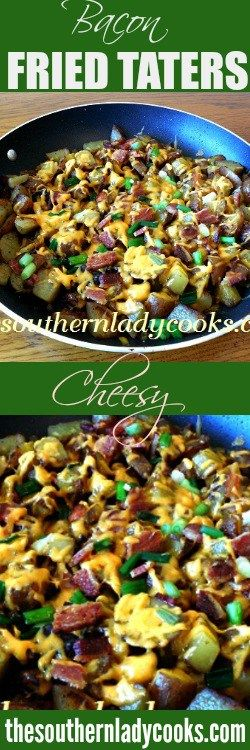 This recipe for Cheesy Bacon Skillet Fried Taters is just good food in a skillet. Anytime you can add bacon and cheese, you know it's going to be great!