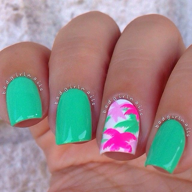 Tropical manicure... so bold and bright!