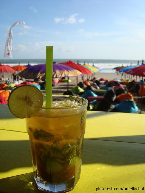 Mojito, at La Plancha beach cafe, Seminyak Beach, Bali.