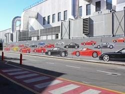 A mural at the Ferrari head office in Maranello, Italy.