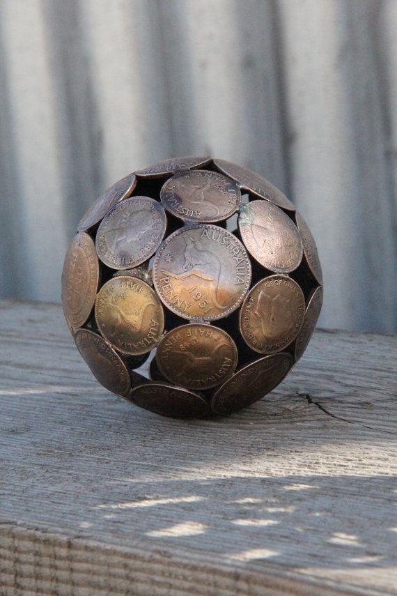 Mini mixed penny ball 2 Penny sphere Metal sculpture by Moerkey, $55.00