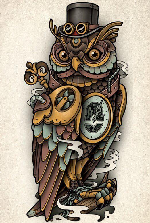 14 Fantastic Steampunk Owl Tattoo Designs Petpress In 2020 Traditional Owl Tattoos Owl Tattoo Design Steampunk Tattoo