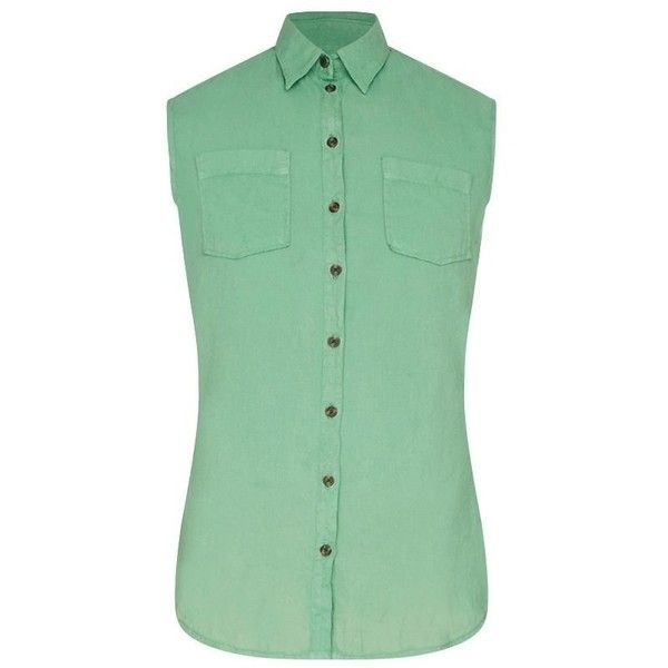 Barbour Foreland Shirt - Linden Green ($74) ❤ liked on Polyvore featuring tops, cotton shirts, green top, barbour shirt, green sleeveless shirt and collared shirt