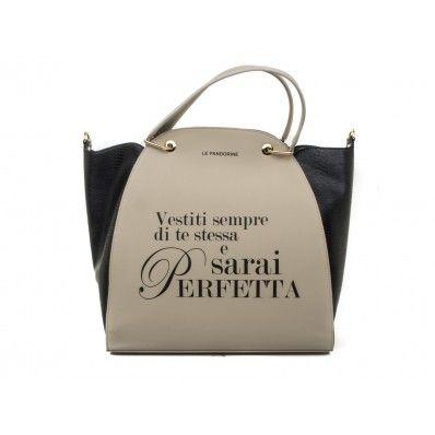 "LE #PANDORINE - Borsa NEW CLASSIC METAL GOLD  ""Perfetta..."" in ecopelle - Grigio  - Elsa-boutique.it <3"