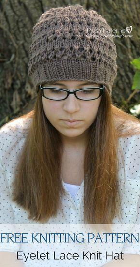 Chapéu de malha de ilhós com padrão de tricô grátis