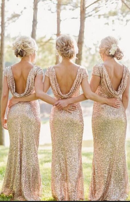 $99 -Sequins Bridesmaid Dresses 2015 Gold Cap Sleeve Floor Length Sexy Backless…