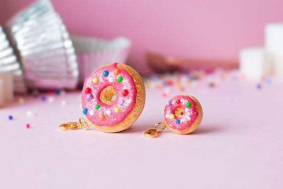 Donut Charm with Strawberry Icing  Color by TinyShinyBakery