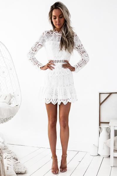 Pixie Lace Dress - White