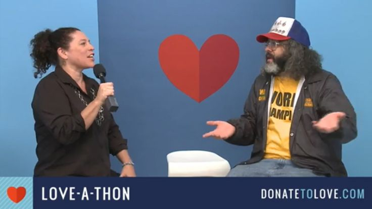 Lisa Garcia,  Vice President of Litigation for Healthy Communities at Earthjustice, with actor and writer Judah Friedlander on set at the 2017 Love-A-Thon