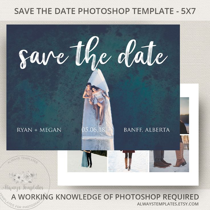 Modern and minimalist save the date printable template on Etsy by Always Templates - #savethedate #template #photoshop #weddingplanning #weddinginvitations #engagementphoto #modern #minimal