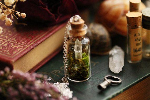Kristal terrarium ketting hanger van de fles met de echte mos, paardebloem zaad ketting, duidelijke kwartskristal, geschenk van Ierland #D18