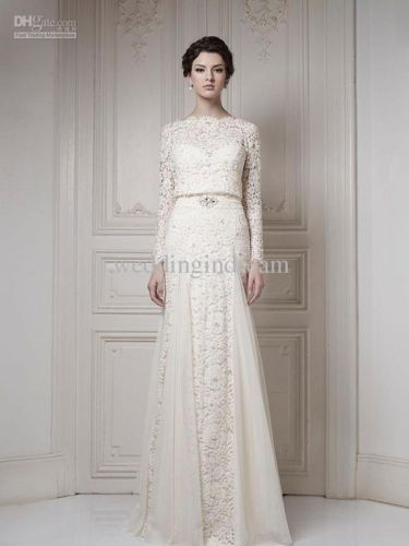 Best Selling Ivory A-line Long Sleeves Cool Muslim Lace Bridal Gown Wedding 2014
