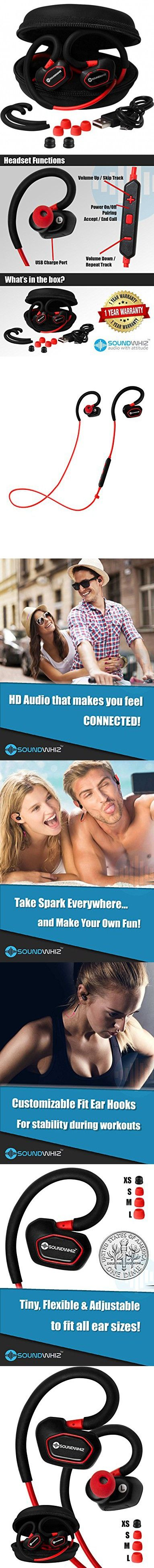 Bluetooth Earbuds. SoundWhiz Spark Best Wireless Earbuds. Stable Fit For Running, Cycling, Gym, Yoga, Fitness. Wireless Headset with Mic. Red