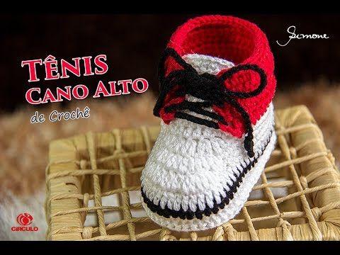 Tênis de Crochê Infantil Cano Alto | Professora Simone | Parte 1 - YouTube