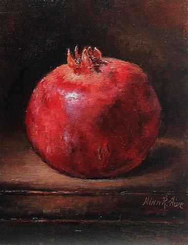 """Pomegranate. Oil on canvas panel 8x6 inches"" - Original Fine Art for Sale - � Nina R. Aide"