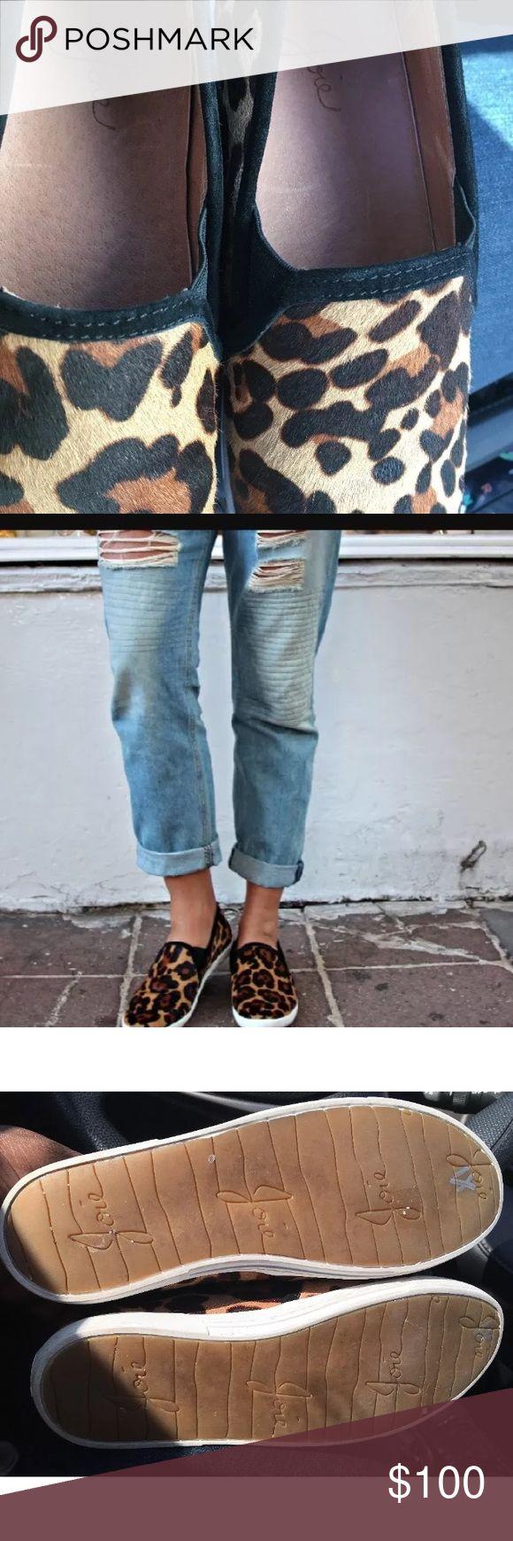 Joie Sneakers size 6medium (36.5 Europe ) Calf hair upper leopard print gently used Joie Shoes Sneakers