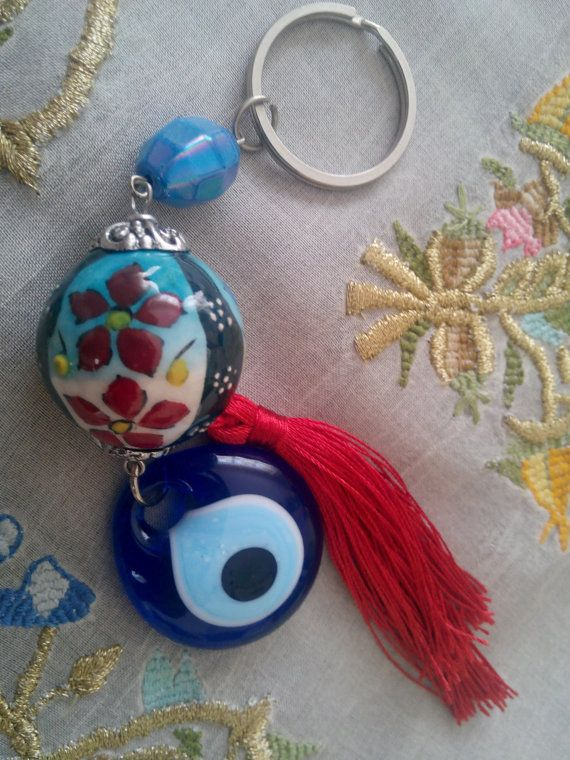 Kabbalah Evil Eye Key Chain Handmade Turkish Ceramic lucky evile eye, nazar bead, nazar boncuk,