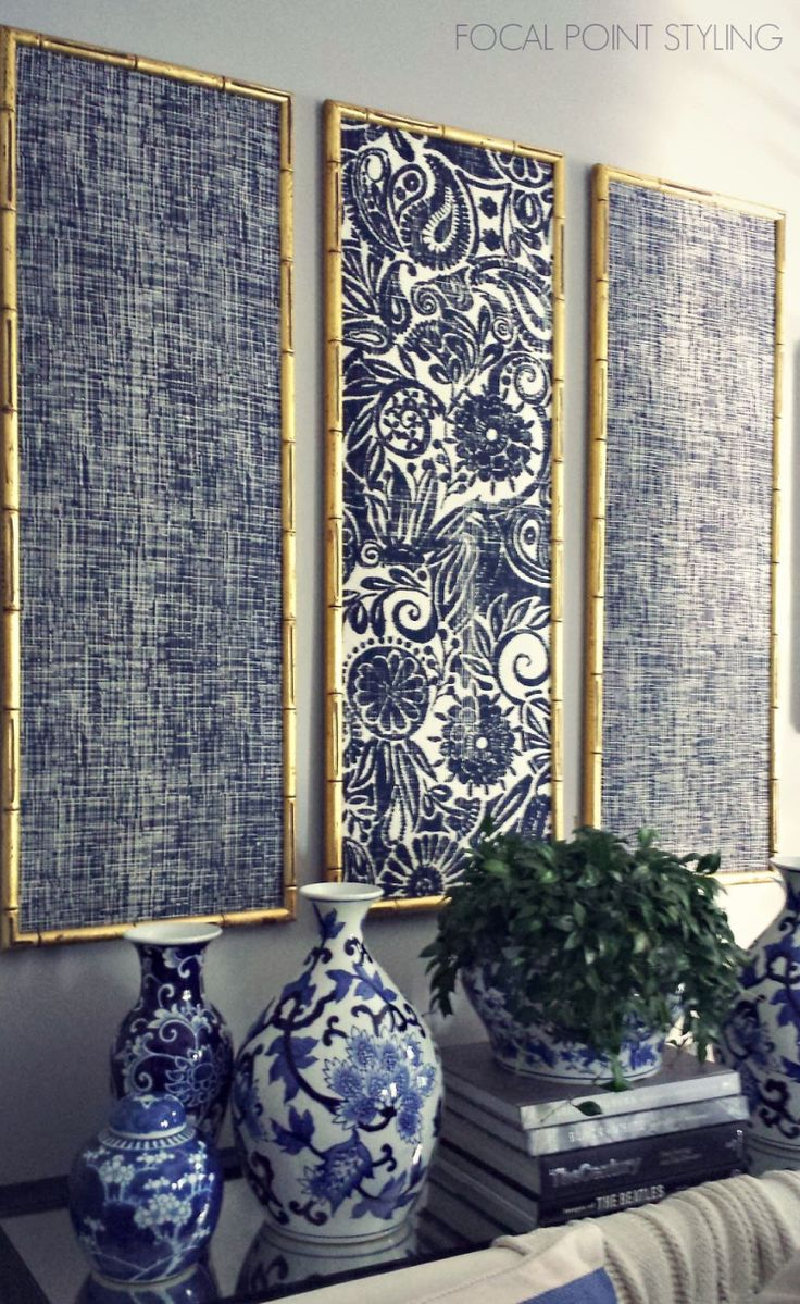 Gold bamboo frames with navy blue chinoiserie fabric!                                                                                                                                                     More
