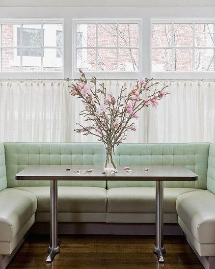 U-shaped. This beautiful banquette seats quite a few diners. It would be a relaxing place for a dinner party. Getting in and out on a daily basis, however, might be problematic. When to use: When a rectangular table best fits the space.