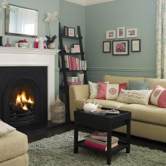 living room ideas  #KBHome- love the fireplace, dark floors, sofa