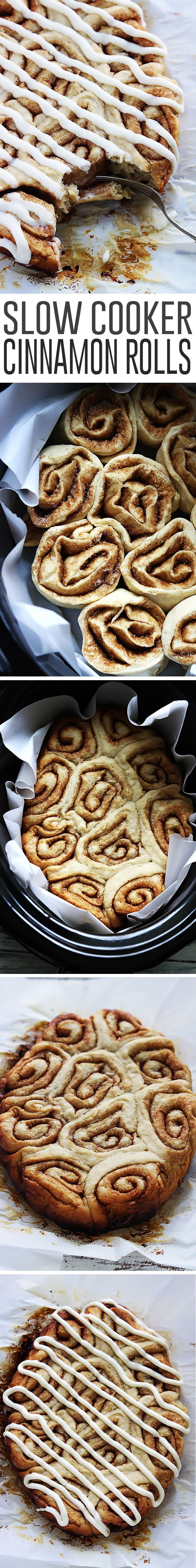 Fluffy cinnamon rolls made right in the crock pot, topped with rich cream cheese frosting!