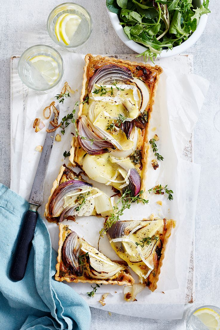 Caramelised red onion pairs perfectly with creamy brie cheese in this delicious savoury tart. Serve it up for a light spring lunch the family will love.