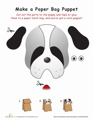 b93efab70 Puppy Paper Bag Puppet | printable work sheets | Paper bag puppets, Paper  bag crafts, Puppy crafts