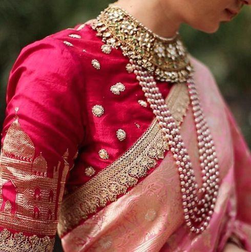 The blouse with a Taj Mahal print + Benarsi silk saree + layered pearl necklace = old world charm at its best.