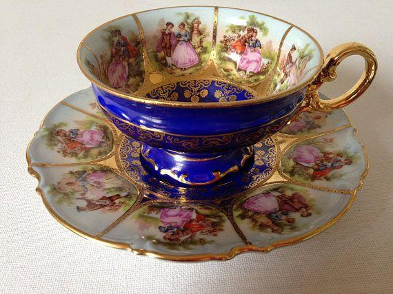 Thee kopje en schotel, Tea Cup Set, Carlsbad, Koninklijke Wenen, Fragonard, liefdesverhaal, Hand geschilderde China, Romantische Gift-inbare/Beieren China.