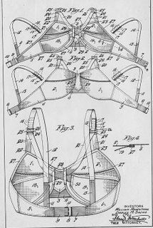Patent drawing of Maidenform brassiere, 1938  William Rosenthal and Charles M. Sachs, Maidenform Co., New York, New York  printed ink on paper. No wonder they're so complicated to remove!